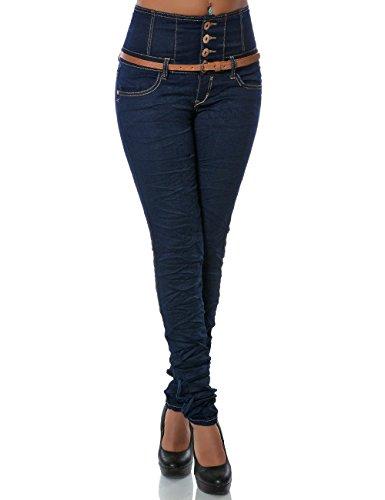 Damen Skinny Jeans High-Waist Hose Gürtel DA 14083, Farbe:Blau, Größe:S / 36