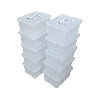 10 er Set Alpfa Schuhboxen je 5,0 Liter Inhalt - transparent mit Deckel - stapelbar 33x20x11 cm