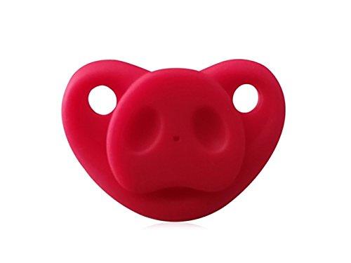 QWhing Kreativ Kreative Silikon Baby Infant Schnuller Nippel Beißring Baby Schnuller Pflege Nippel Schwein Nase (Rot) Heimzubehör - Schwein-schnuller