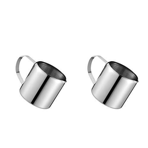 FLAMEER 2 Stücke Metall Milch Aufschäumen Krug Kaffee Aufschäumen Tasse - Metall-milch