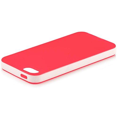 iCues Apple iPhone SE / 5S / 5 |  Bicolor TPU Case Lila | [Display Schutzfolie Inklusive] Silikon Gel Schutzhülle Hülle Cover Schutz Red