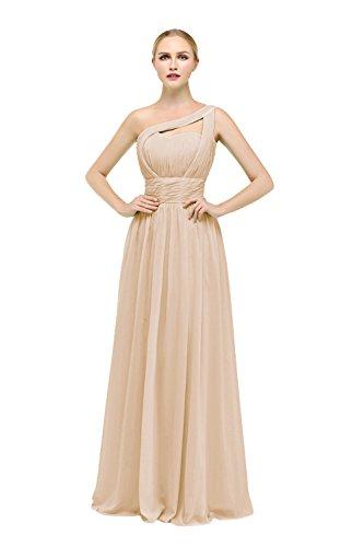 Bbonlinedress Robe de cérémonie Robe de demoiselle d'honneur forme empire une épaule longueur ras du sol Champagne
