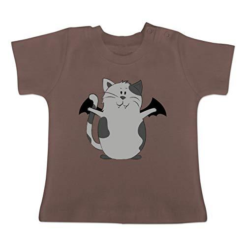 Anlässe Baby - Katze Halloween - 12-18 Monate - Braun - BZ02 - Baby T-Shirt Kurzarm (Katze Kostüm 18 Monat Alt)