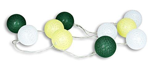 levandeo 10er Lichterkette LED Kugeln Lampions Baumwolle Grün Weiß Cotton Girlande Deko Cottonballs