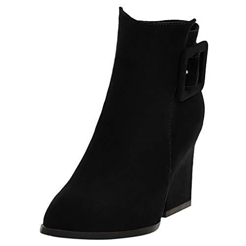 Kinlene Stivali Chelsea da Donna con Cerniera Pure Color Pointed Toe con Tacco Grosso Vintage