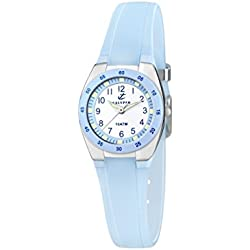 Calypso Women's Quartz Watch with White Dial Analogue Display and Blue Plastic Strap K6043/D