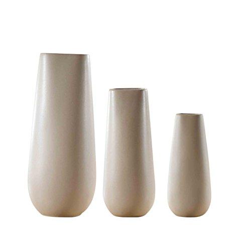 Porzellan Große Vasen 3 tlg. Set, Purelifestyle, Blumenvase, Tischdeko, Hochzeitsdeko, Höhe 37 / 30 / 24 cm (Große Keramik Vasen)
