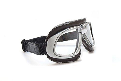 Gafas Moto Vintage Marron para Harley Davidson y Vespa con lentes a prueba de choque y cordones ajustables by Bertoni Italy – AF190B – Mascara Motoristas para Cascos