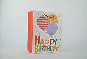 Shatchi 7169-GIFT-BAG-RED-M - Bolsa de regalo para cumpleaños (32 x 26 x 12 cm), color rojo
