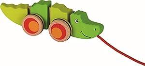 Ziehtier Krokodil: 20,5 x 5,5 x 6 cm, Holz, per Stück