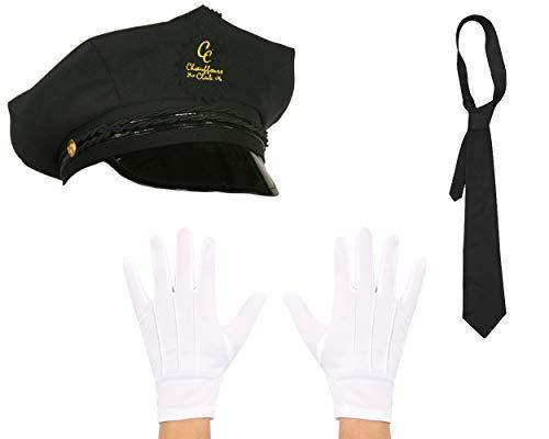 Mütze Kostüm Chauffeur - CHAUFFEUR KOSTÜM VERKLEIDUNGS SET =HUT+HANDSCHUHE+KRAWATTE=TAXI FAHRER DRIVER