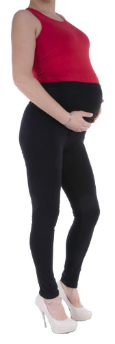 STANDARD or WINTER FULL LENGTH CROPPED SHORT MATERNITY LEGGINGS OVER BUMP 95%Cotton WIDE RANGE OF COLOURS (Small, Black)