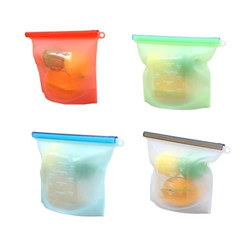 BESTONZON 4 Stück Silikon Lebensmittel-Aufbewahrungstasche Vielseitige Kochtaschen Konservierung luftdicht verschließbare Beutel für Aufbewahrung und Gefrierfach Lebensmittel 1000 ml (zufällige Farbe)