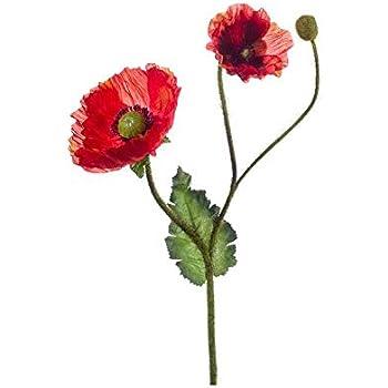 künstliche Mohnblume Klatschmohn mit Knospe 23cm rot Formano Kunstblume