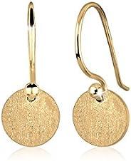 Elli Women Circle Geo Minimal Trend Matt 925 Silver Gold Plated Earrings