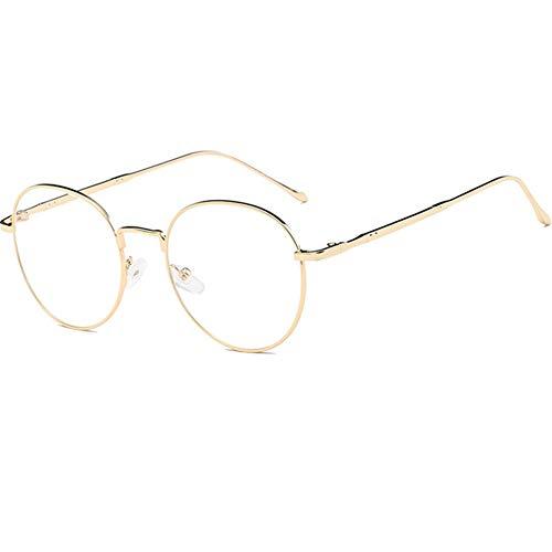 YUNCAT Metallrahmen Runde Brille Vintage Brille Transparente Brille mit Fensterglas Retro-60er für Karneval (Jins Brille)