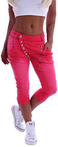 Mozzaar Damen Boyfriend Jeans Baggy Haremshose Caprihose Bermudas Kurz XS 34 S 36 M 38 L 40 XL 42 Rot gr größe size Capri Hose-n sommerhose hüftjeans jeanshose-n boyfriendjeans stretch-hose-n Denim Baggy Jeans