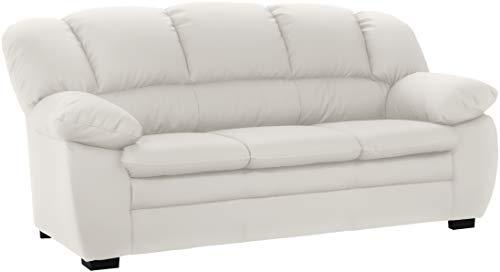 Mivano 3-Sitzer Sofa Casino, Große Ledercouch mit moderner Kontrastnaht, 191 x 88 x 92, Kunstleder Weiß