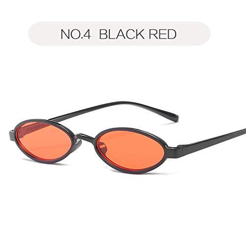 ZHAS High-End-Brille Kleine ovale Sonnenbrille Männer Retro Runde Sonnenbrille Weiblich Männlich Tinny Eyewear Shades Für Frauen Personalisierte High-End-Sonnenbrille Schwarz Rot
