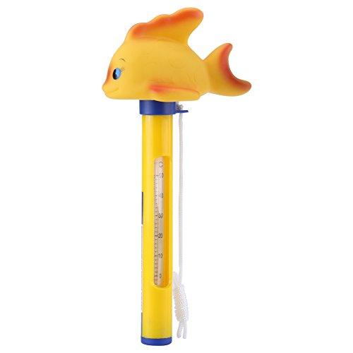 Hilitand Cartoon-Pool-Thermometer Badekurort-Swimmingpool-Thermometer Baby Wasser Thermometer Floating Pool Thermometer Karikatur für Alle Hallenschwimmbäder im Freien heiße Wannen(Goldfisch)