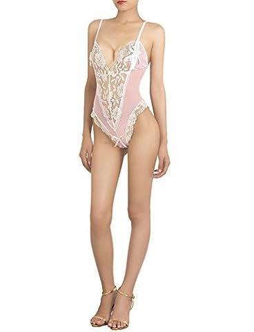 iB-iP Damen Ausschnitt Stürzen Öse Spitze Netzstrümpfe Mini Teddy Unterwäsche,