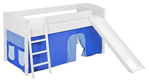 Lilokids Spielbett IDA 4106 Blau - Teilbares Systemhochbett weiß - mit Rutsche und Vorhang