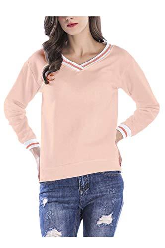 Frauen Pullover V Ausschnitt Lange Ärmel Leichte Shirt Perfect Lässig Basic T-Shirt Tops Oberteile Herbst Style (Color : Pink, Size : XL)
