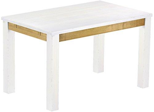 Brasilmöbel Esstisch Rio Classico 130x80 cm Snow Brasil Holz Tisch Pinie Massivholz Esszimmertisch Küchentisch Echtholz Größe und Farbe wählbar...