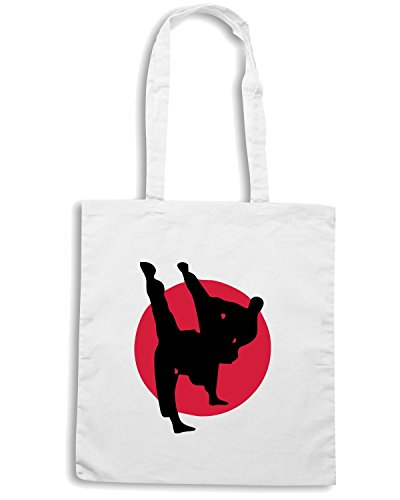 T-Shirtshock - Borsa Shopping TBOXE0029 Martial arts Karate Kick Boxing Judo Taekwondo Bianco