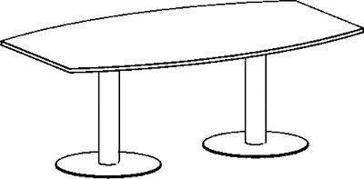 Konferenztisch, fassförmig mit Tellerfüáen, BxTxH 2000x800/1200x720 mm, Plattenfarbe ahorn, Säule si
