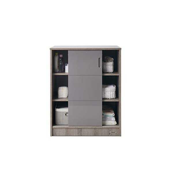 Obaby Madrid Storage Unit - Eclipse Obaby Left side offers the option of a hanging rail and shelf or three shelves Right side has 3 fixed shelves Option to add the removable changing top to turn into a changing unit 5