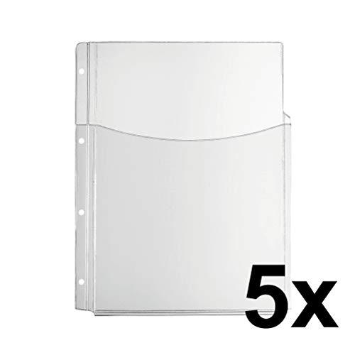 Falken Premium PP-Kunststoff Faltentasche für DIN A4 transparent glasklar oben offen mit halber Tasche 5er Pack Klarsichtfolie Plastikhülle Klarsichthülle ideal für Ordner Ringbücher und Hefter