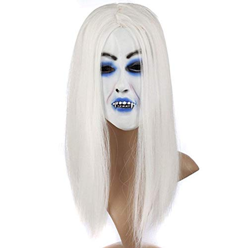 TYUBN Scary Latex Maske Halloween Toothy Zombie Braut mit weißem Haar Horror Ghost Maske Kostüm Party Cosplay Prop für Halloween-Party