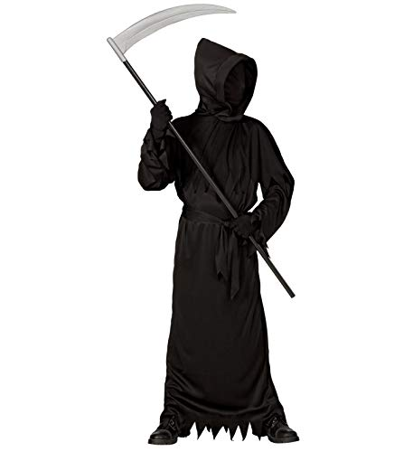 Kostüm Skull Reaper - 24costumes Kinder Sensenmann Kostüm | Grim Reaper Kostüm 3-teilig inkl. Sense | Halloween Karneval und Mottoparty: Größe: 128
