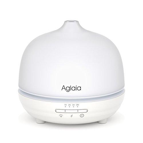 Aglaia 300ml Difusor de Aceite Esencial con 7 Colores Cambios de Luz LED, Aromaterapia Humidificador Ultrasónica de Vidrio con Auto-Temporizador y Apagado Automático, Apto para Oficina, Sala de Conferencia, Casa
