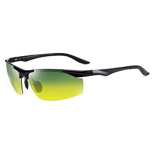 SCJS Herren Sonnenbrillen Polarizer Driver Brillen Tag und Nacht Sonnenbrillen Anti-UV Nachtsichtbrillen Anti-Fernlicht Outdoor Sportbrillen (Farbe: Schwarz)