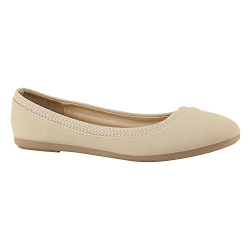 Klassische Damen Ballerinas | Flats Slipper Flache Schuhe | Übergrößen | Spitze Metallic Glitzer Creme Avelar