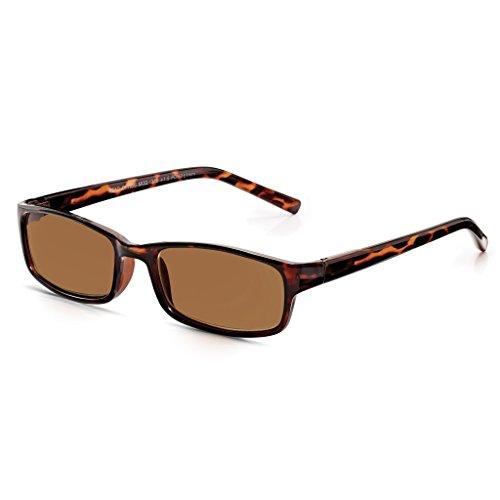 Read Optics Sonnenbrille: Vollrand-Lesebrille mit UV-400 Sonnenschutz für Herren und Damen. In der Sehstärke +2,5 Dioptrien. Rechteckige und blendfreie Brille in klassischem, dunkelbraunen Schildpatt