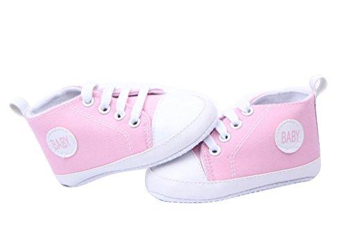 Bigood Liebe süße Baby-Mädchen Sandalette Lauflernschuhe Segeltuch 13 Lila Pink