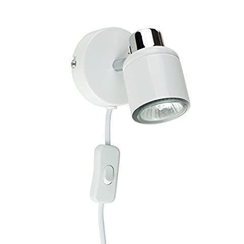 Modern White And Chrome Single Adjustable Ceiling / Wall Spotlight With Practical Plug, Cable And Switch