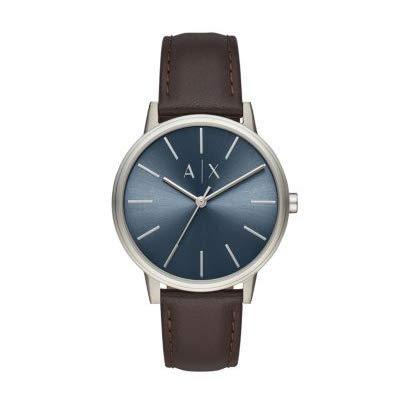 Armani Exchange Herren Analog Quarz Uhr mit Leder Armband AX2704