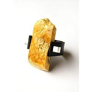 Bernstein Ring Bernstein WEISS BRAUN Silber 925 NEU 19325