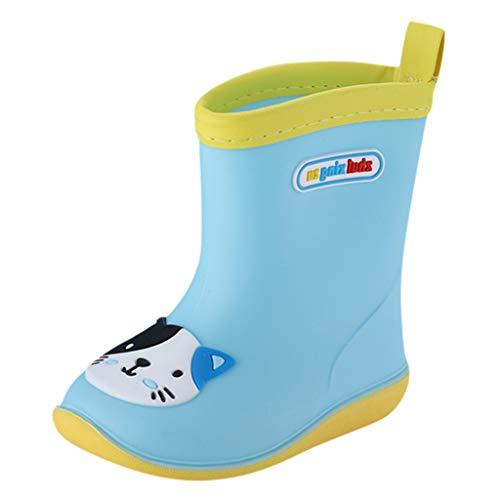 Deloito Kleinkind Baby Stiefel Kinder Jungen Mädchen Tier Gedruckt Gummistiefel PVC Regenstiefel Wasserdicht rutschfeste Wasserschuhe (Blau,34 EU)