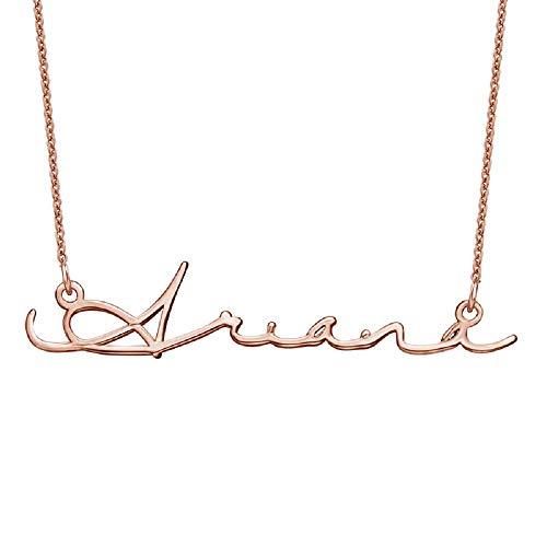 Baebaby Personalisierte Signatur Name Halskette personalisierte gravierte Anhänger Kette angepasst Schmuck Geschenk (Personalisierte Signatur-schmuck)