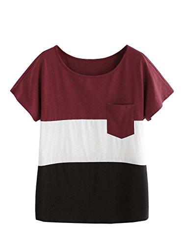 ROMWE Damen Farbblock Baumwoll T-Shirt mit Tasche Streifen Sommer Top Oberteil Burgundy M (Damen-streifen-t-shirt)