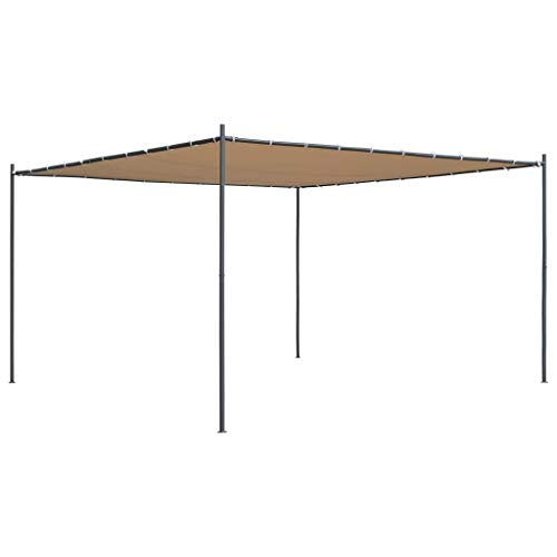 Vidaxl gazebo con tetto piano 4x4x2,4 m beige tendone per feste tenda giardino