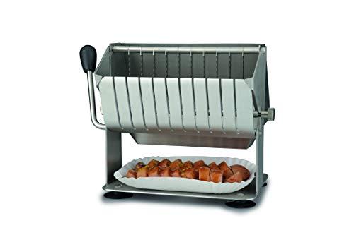 Gastroback 41397 Hand Currywurst Schneider, Gehäuse aus Chromnickelstahl, Messer aus Edelstahl, patzsparend und pflegeleicht, Stahl, Metallic