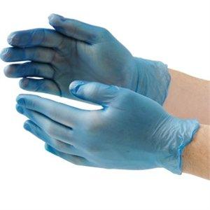 Gants en vinyle Bleu – Taille : Medium. Quantité : 100.