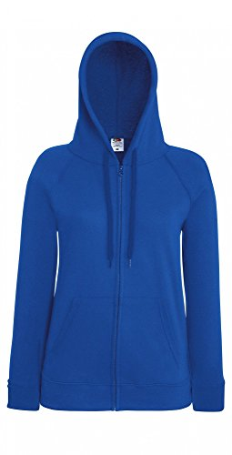 Fruit of the Loom Damen Kapuzenpullover Lightweight Hooded Sweat Jacket Lady-Fit Royal Blue