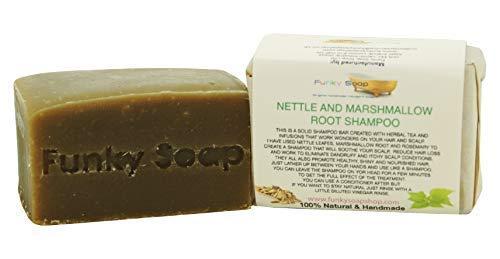 Haarseife (1 Stück) mit Marshmalaubenwurzel und Ranken, 100% natürlich und handgefertigt, Gewicht: 120 g - 1h-bar